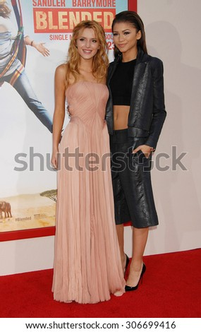 LOS ANGELES - MAY 21:  Bella Thorne and Zendaya Coleman arrives at the Blended LOS ANGELES Premiere  on May 21, 2014 in Hollywood, CA                 - stock photo