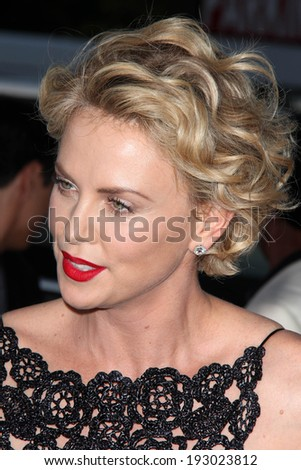 "LOS ANGELES - MAY 15:  Charlize Theron at the ""A Million Ways To Die In The West"" World Premiere at Village Theater on May 15, 2014 in Westwood, CA - stock photo"