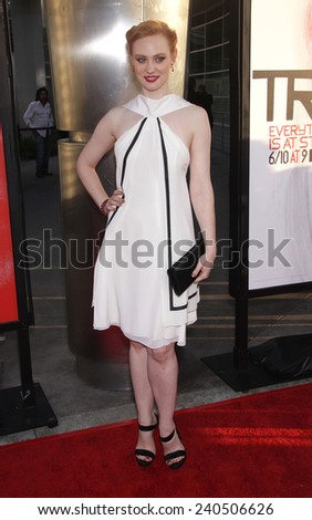 "LOS ANGELES - MAY 30:  DEBORAH ANN WOLL arrives to ""True Blood"" Season 5 Premiere  on May 30, 2012 in Hollywood, CA                 - stock photo"