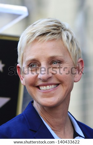 LOS ANGELES - MAY 13: Ellen DeGeneres at a ceremony where Steve Harvey is honored with a star on the Hollywood Walk Of Fame on May 13, 2013 in Los Angeles, California - stock photo