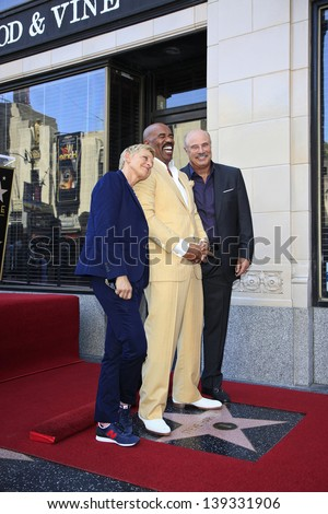 LOS ANGELES - MAY 13: Ellen DeGeneres, Steve Harvey, Dr Phil McGraw at a ceremony where Steve Harvey is honored with a star on the Hollywood Walk Of Fame on May 13, 2013 in Los Angeles, California - stock photo