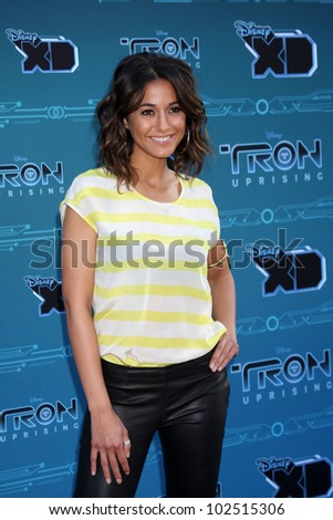 "LOS ANGELES - MAY 12:  Emmanuelle Chriqui arrives at the Disney XD's ""TRON: Uprising"" Press Event and Reception at DisneyToon Studios/Disney Television Animation on May 12, 2012 in Glendale, CA"