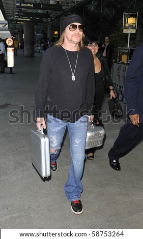 LOS ANGELES - MAY 30: Guns n Roses frontman Axl Rose is seen at LAX. May 30th in Los Angeles, California. - stock photo