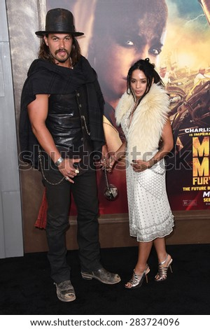"""LOS ANGELES - MAY 07:  Jason Momoa & Lisa Bonet arrives to the """"Mad Max: Fury Road"""" Los Angeles Premiere  on May 7, 2015 in Hollywood, CA                 - stock photo"""