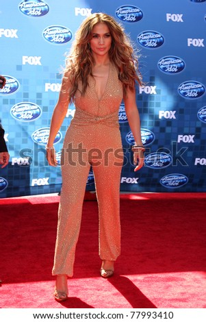 LOS ANGELES - MAY 25:  Jennifer Lopez arriving at the 2011 American Idol Finale at Nokia Theater at LA Live on May 25, 2010 in Los Angeles, CA - stock photo