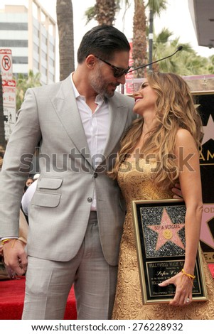 LOS ANGELES - MAY 7:  Joe Manganiello, Sofia Vergara at the Sofia Vergara Hollywood Walk of Fame Ceremony at the Hollywood Blvd on May 7, 2015 in Los Angeles, CA - stock photo