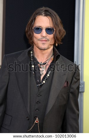 "LOS ANGELES - MAY 7:  Johnny Depp arrives at the ""Dark Shadows"" - Los Angeles Premiere at Graumans Chinese Theater on May 7, 2012 in Los Angeles, CA - stock photo"