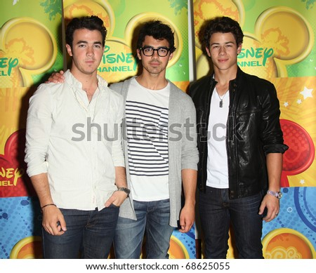 LOS ANGELES - MAY 15:  Jonas Brothers arrives to Disney ABC Television Group Summer Press Junket on May 15, 2010 in Burbank, CA - stock photo