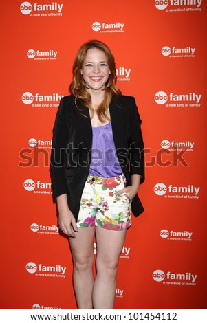 LOS ANGELES - MAY 1:  Katie Leclerc arrives at the ABC Family West Coast Upfronts at The Sayers Club on May 1, 2012 in Los Angeles, CA - stock photo