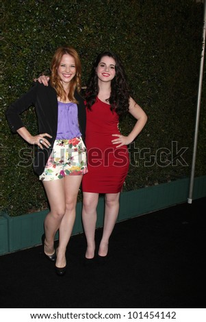 LOS ANGELES - MAY 1:  Katie Leclerc, Vanessa Marano arrives at the ABC Family West Coast Upfronts at The Sayers Club on May 1, 2012 in Los Angeles, CA - stock photo