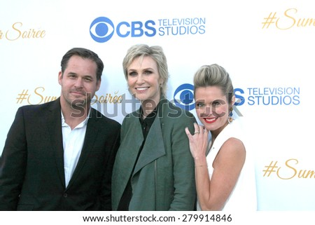 LOS ANGELES - MAY 18:  Kyle Bornheimer, Jane Lynch, Maggie Lawson at the CBS Summer Soiree 2015 at the London Hotel on May 18, 2015 in West Hollywood, CA - stock photo