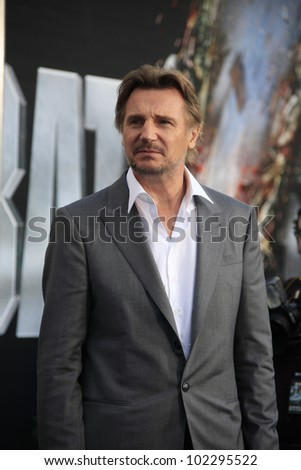 LOS ANGELES - MAY 10: Liam Neeson at the premiere of Universal Pictures' 'Battleship' at The Nokia Theater L.A. Live on May 10, 2012 in Los Angeles, California - stock photo