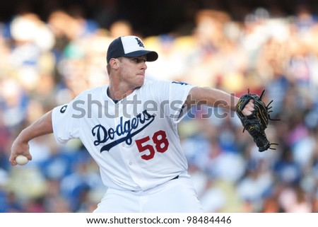 LOS ANGELES - MAY 30: Los Angeles Dodgers P Chad Billingsley #58 pitches during the MLB game between the Colorado Rockies & the Los Angeles Dodgers on May 30 2011 at Dodger Stadium in Los Angeles. - stock photo