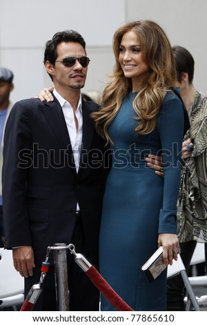 LOS ANGELES - MAY 23:  Marc Anthony, Jennifer Lopez at the Simon Fuller Hollywood Walk Of Fame Star Ceremony at W Hotel - Hollywood on May 23, 2011 in Los Angeles, CA - stock photo