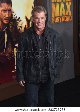 "LOS ANGELES - MAY 07:  Mel Gibson arrives to the ""Mad Max: Fury Road"" Los Angeles Premiere  on May 7, 2015 in Hollywood, CA                 - stock photo"