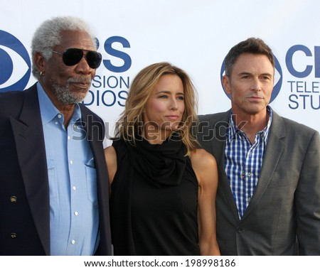 LOS ANGELES - MAY 19:  Morgan Freeman, Tea Leoni, Tim Daly at the CBS Summer Soiree at the London Hotel on May 19, 2014 in West Hollywood, CA - stock photo