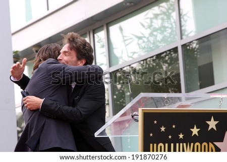 LOS ANGELES - MAY 9:  Rick Springfield, Richard Marx at the Rick Springfield Hollywood Walk of Fame Star Ceremony at Hollywood Blvd on May 9, 2014 in Los Angeles, CA - stock photo
