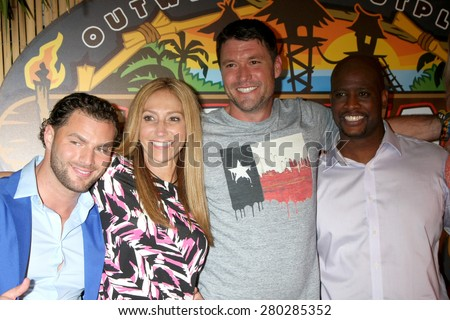 LOS ANGELES - MAY 20:  Rodney Lavoie Jr, Carolyn Rivera, Mike Holloway, Will Sims II at the Survivor Season 30 Finale at the CBS Radford on May 20, 2015 in Studio City, CA - stock photo
