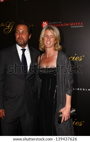 LOS ANGELES - MAY 21:  Rory Kennedy and husband Mark Bailey arrive at the 38th Annual Gracie Awards Gala at the Beverly Hilton Hotel on May 21, 2013 in Beverly Hills, CA - stock photo