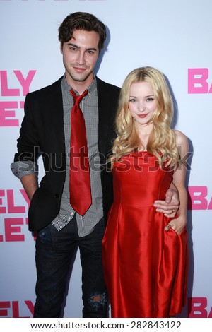 """LOS ANGELES - MAY 27:  Ryan McCartan, Dove Cameron at the """"Barely Lethal"""" Los Angeles Screening at the ArcLight Hollywood Theaters on May 27, 2015 in Los Angeles, CA - stock photo"""