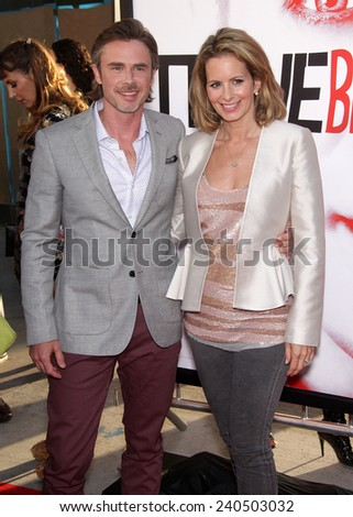 """LOS ANGELES - MAY 30:  SAM TRAMMELL & WIFE arrives to """"True Blood"""" Season 5 Premiere  on May 30, 2012 in Hollywood, CA                 - stock photo"""