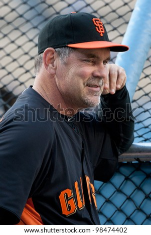 LOS ANGELES - MAY 19: San Francisco Giants MGR Bruce Bochy #15 during the MLB game on May 19 2011 at Dodger Stadium in Los Angeles. - stock photo