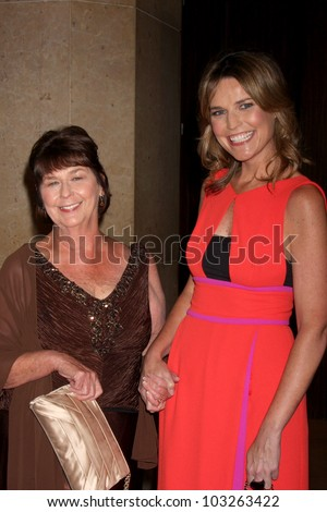 LOS ANGELES - MAY 22:  Savannah Guthrie, with her mother arrives at the 37th Annual Gracie Awards Gala at Beverly Hilton Hotel on May 22, 2012 in Beverly Hllls, CA - stock photo