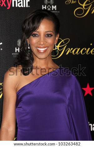 LOS ANGELES - MAY 22:  Shaun Robinson arrives at the 37th Annual Gracie Awards Gala at Beverly Hilton Hotel on May 22, 2012 in Beverly Hllls, CA - stock photo