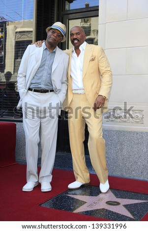 LOS ANGELES - MAY 13: Steve Harvey and Samuel L Jackson at a ceremony where Steve Harvey is honored with a star on the Hollywood Walk Of Fame on May 13, 2013 in Los Angeles, California - stock photo