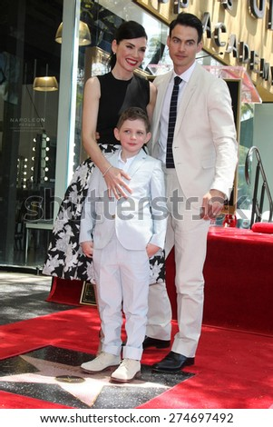 LOS ANGELES - MAY 1:  ulianna Margulies, Kieran Lieberthal, Keith Lieberthal at the Julianna Margulies Hollywood Walk of Fame Star Ceremony at the Hollywood Boulevard on May 1, 2015 in Los Angeles, CA - stock photo