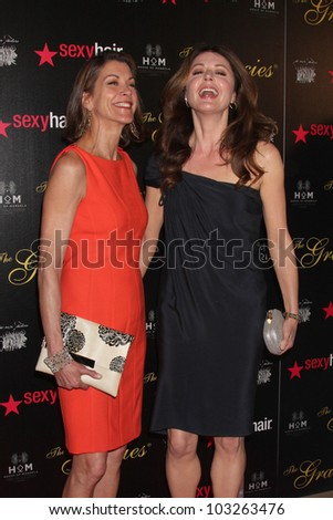 LOS ANGELES - MAY 22:  Wendie Malick, Jane Leeves arrives at the 37th Annual Gracie Awards Gala at Beverly Hilton Hotel on May 22, 2012 in Beverly Hllls, CA - stock photo