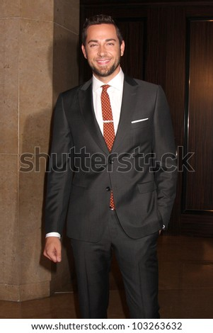 LOS ANGELES - MAY 22:  Zachary Levi arrives at the 37th Annual Gracie Awards Gala at Beverly Hilton Hotel on May 22, 2012 in Beverly Hllls, CA - stock photo