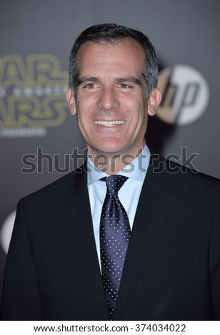 "Los Angeles Mayor Eric Garcetti at the world premiere of ""Star Wars: The Force Awakens"" on Hollywood Boulevard. December 14, 2015  Los Angeles, CA Picture: Paul Smith / Featureflash - stock photo"