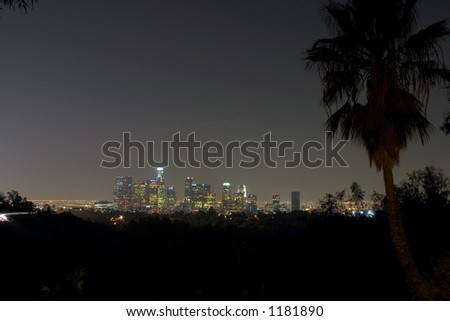 Los Angeles Night Skyline - stock photo