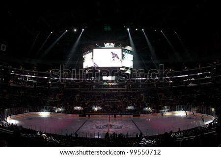 LOS ANGELES - NOV 28: A general view of Staples Center before the National Hockey League game on Nov 28 2011 at Staples Center in Los Angeles. - stock photo
