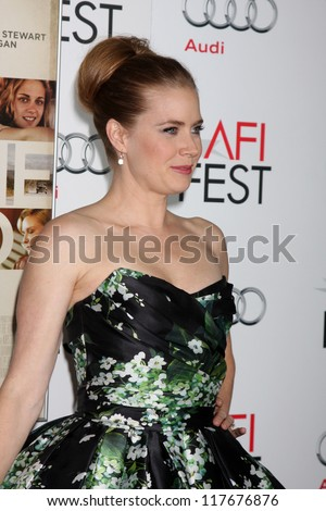 "LOS ANGELES - NOV 3:  Amy Adams arrives at the AFI Film Festival 2012  ""On the Road"" Gala Screening at Los Angeles on November 3, 2012 in Graumans Chinese Theater, CA"