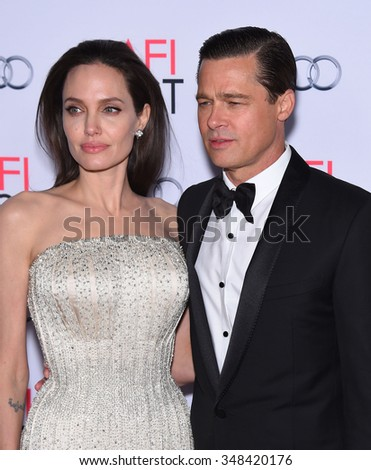 """LOS ANGELES - NOV 5:  Angelina Jolie & Brad Pitt arrives to the """"By The Sea"""" World Premiere Opening Night Gala AFI Film Festival  on November 5, 2015 in Hollywood, CA.                 - stock photo"""