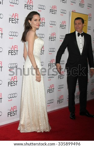 """LOS ANGELES - NOV 5: Angelina Jolie Pitt, Brad Pitt at the AFI FEST 2015 Presented By Audi Opening Night Gala Premiere of """"By The Sea"""" at the TCL Chinese Theater on November 5, 2015 in Los Angeles, CA - stock photo"""