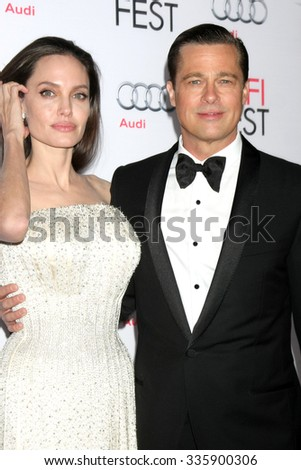 "LOS ANGELES - NOV 5: Angelina Jolie Pitt, Brad Pitt at the AFI FEST 2015 Presented By Audi Opening Night Gala Premiere of ""By The Sea"" at the TCL Chinese Theater on November 5, 2015 in Los Angeles, CA - stock photo"