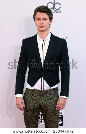 LOS ANGELES - NOV 23:  Ansel Elgort at the 2014 American Music Awards - Arrivals at the Nokia Theater on November 23, 2014 in Los Angeles, CA - stock photo