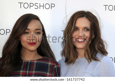 LOS ANGELES - NOV 2:  Ashley Madekwe, Mandy Moore at the Topshop Celebrates the Holidays at Topshop at The Grove on November 2, 2013 in Los Angeles, CA - stock photo