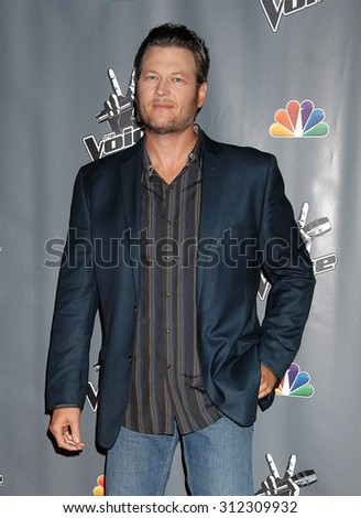 LOS ANGELES - NOV 7:  Blake Shelton arrives at the The Voice Season 5 Top 12  on November 7, 2013 in Hollywood, CA                 - stock photo
