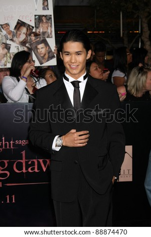 "LOS ANGELES - NOV 14:  Booboo Stewart arrives at the ""Twilight: Breaking Dawn Part 1"" World Premiere at Nokia Theater at LA LIve on November 14, 2011 in Los Angeles, CA"