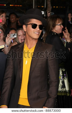 "LOS ANGELES - NOV 14:  Bruno Mars arrives at the ""Twilight: Breaking Dawn Part 1"" World Premiere at Nokia Theater at LA LIve on November 14, 2011 in Los Angeles, CA - stock photo"