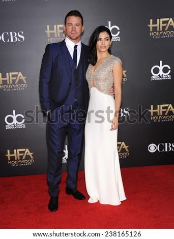 LOS ANGELES - NOV 14:  Channing Tatum & Jenna Dewan-Tatum arrives to the The Hollywood Film Awards 2014 on November 14, 2014 in Hollywood, CA                 - stock photo
