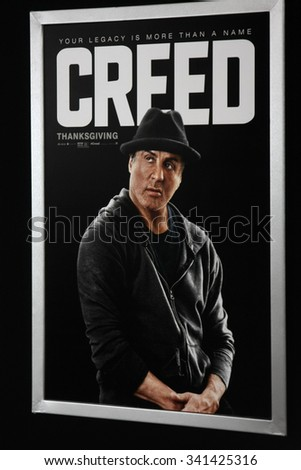 "LOS ANGELES - NOV 19:  ""Creed"" Poster at the ""Creed"" Los Angeles Premiere at the Village Theater on November 19, 2015 in Westwood, CA - stock photo"
