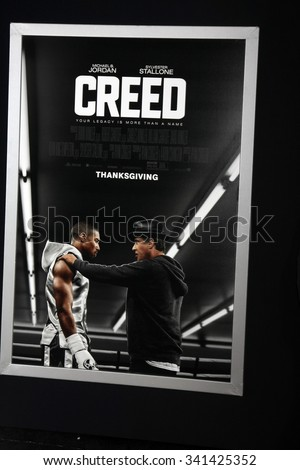 """LOS ANGELES - NOV 19:  """"Creed"""" Poster at the """"Creed"""" Los Angeles Premiere at the Village Theater on November 19, 2015 in Westwood, CA - stock photo"""