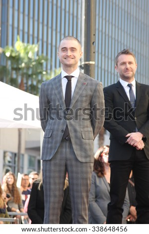 LOS ANGELES - NOV 12:  Daniel Radcliffe, Chris Hardwick at the Daniel Radcliffe Hollywood Walk of Fame Ceremony at the Hollywood Walk of Fame on November 12, 2015 in Los Angeles, CA - stock photo