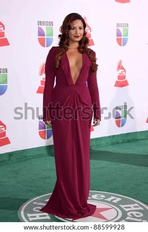 LOS ANGELES - NOV 10:  Demi Lovato arrives at the 12th Annual Latin GRAMMY Awards at Mandalay Bay on November 10, 2011 in Las Vegas, NV - stock photo