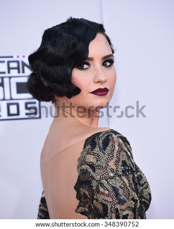 LOS ANGELES - NOV 22:  Demi Lovato arrives to the American Music Awards 2015  on November 22, 2015 in Los Angeles, CA.                 - stock photo